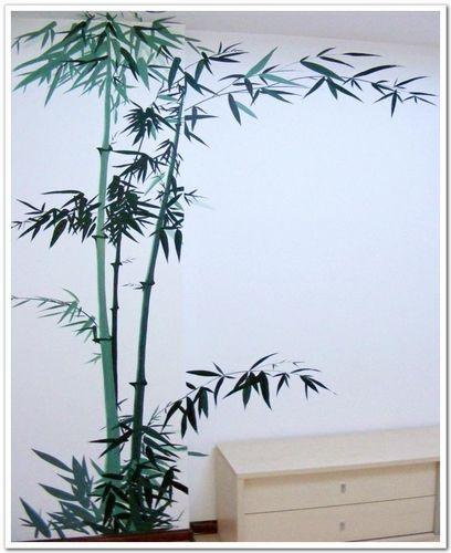 竹子壁画背景墙 硅藻泥背景墙竹子图案 床头背景墙壁画效
